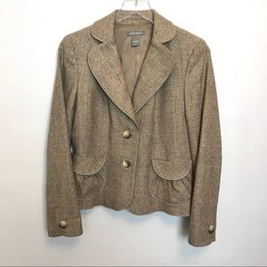 Ann Taylor Brown Tweed Houndstooth Blazer Size 6
